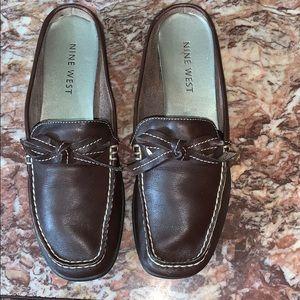 Nine West brown leather slip ons.
